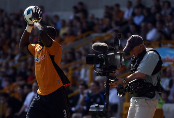 WOLVERHAMPTON, ENGLAND - APRIL 09:  The Sky TV steadycam operator follows the action during the Barclays Premier League match between Wolverhampton Wanderers and Everton at Molineux on April 9, 2011 in Wolverhampton, England.  (Photo by Richard Heathcote/