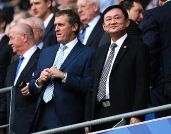 MANCHESTER, UNITED KINGDOM - SEPTEMBER 13: Thaksin Shinawatra looks on during the Barclays Premier League match between Manchester City and Chelsea at The City of Manchester Stadium on September 13, 2008 in Manchester, England.  (Photo by Alex Livesey/Get
