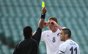 AUCKLAND, NEW ZEALAND - APRIL 29: Ethan Galbraith of New Zealand disputes the yellow card during the Oceania Under 20 Tournament final match between New Zealand and Solomon Islands at North Harbour Stadium on April 29, 2011 in Auckland, New Zealand.  (Pho