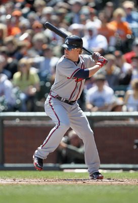 SAN FRANCISCO, CA - APRIL 24:  Nate McLouth #13 of the Atlanta Braves in action against the San Francisco Giants at AT&T Park on April 24, 2011 in San Francisco, California.  (Photo by Ezra Shaw/Getty Images)