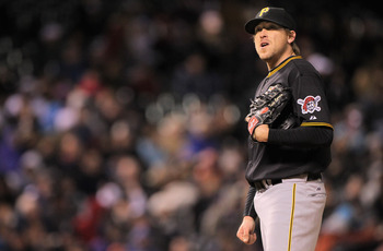 DENVER, CO - APRIL 29:  Starting pitcher Kevin Correia #29 of the Pittsburgh Pirates looks on just before exiting the game agains the Colorado Rockies in the seventh inning at Coors Field on April 29, 2011 in Denver, Colorado. Correia earned the win as th