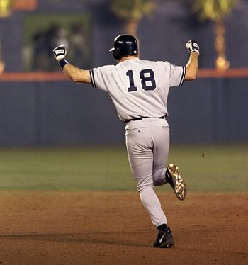 20 Oct 1998:  Infielder Scott Brosius #18 of the New York Yankees celebrates hitting the winning home run during the 1998 World Series Game 3 against the San Diego Padres at the Qualcomm Stadium in San Diego, California. The Yankees defeated the Padres 5-