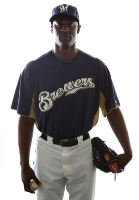 MARYVALE, AZ - FEBRUARY 24:  LaTroy Hawkins #32 of the Milwaukee Brewers poses for a portrait during Spring Training Media Day on February 24, 2011 at Maryvale Stadium in Maryvale, Arizona.  (Photo by Jonathan Ferrey/Getty Images)