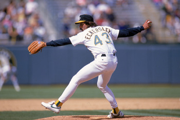 OAKLAND, CA - APRIL 25:  Pitcher Dennis Eckersley #43 of the Oakland Athletics delivers against the Cleveland Indians during the game at the Oakland-Alameda County Coliseum on April 25, 1993 in Oakland, California.  (Photo by Otto Greule Jr/Getty Images)