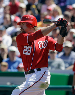 WASHINGTON, DC - APRIL 17: Jayson Werth #28 of the Washington Nationals at the plate against the Milwaukee Brewers at Nationals Park on April 17, 2011 in Washington, DC.  (Photo by Rob Carr/Getty Images)