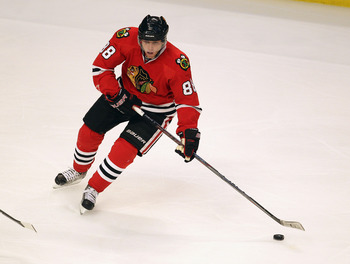 CHICAGO, IL - APRIL 19: Patrick Kane #88 of the Chicago Blackhawks looks to pass against the Vancouver Canucks in Game Four of the Western Conference Quarterfinals during the 2011 NHL Stanley Cup Playoffs at the United Center on April 19, 2011 in Chicago,