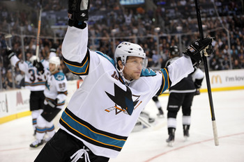 LOS ANGELES, CA - APRIL 25: Dany Heatley #15 of the San Jose Sharks celebrates after a goal against the Los Angeles Kings in game six of the Western Conference Quarterfinals during the 2011 NHL Stanley Cup Playoffs at Staples Center on April 25, 2011 in L
