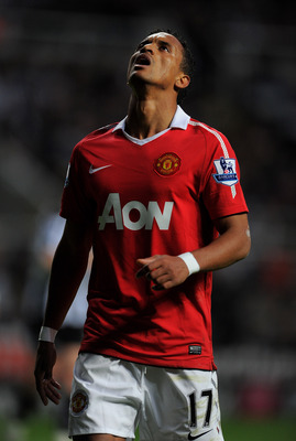 NEWCASTLE UPON TYNE, ENGLAND - APRIL 19: Nani of Manchester United reacts during the Barclays Premier League match between Newcastle United and Manchester United at St James' Park on April 19, 2011 in Newcastle, England.  (Photo by Michael Regan/Getty Ima