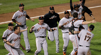 ARLINGTON, TX - NOVEMBER 01:  The San Francisco Giants including Mark DeRosa and Aubrey Huff celebrate their 3-1 victory to win the World Series over the Texas Rangers in Game Five of the 2010 MLB World Series at Rangers Ballpark in Arlington on November