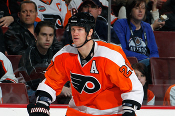 PHILADELPHIA, PA - MARCH 08:  Chris Pronger #6 of the Philadelphia Flyers skates during an NHL hockey game against the Edmonton Oilers at the Wells Fargo Center on March 8, 2011 in Philadelphia, Pennsylvania.  (Photo by Paul Bereswill/Getty Images)