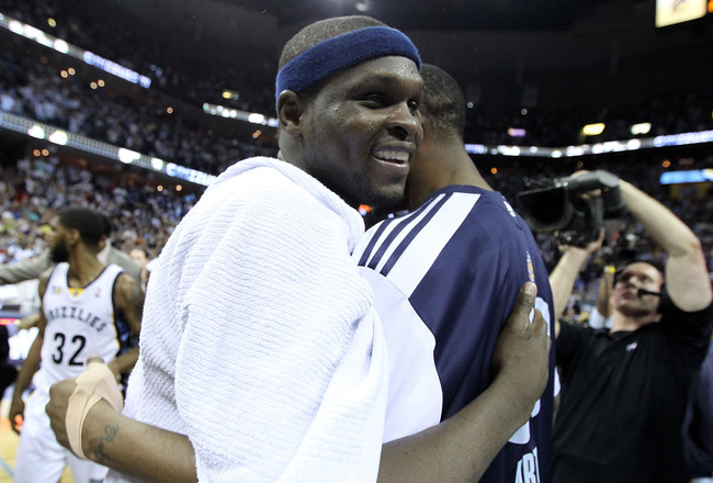 MEMPHIS, TN - APRIL 29: Zach Randolph #50 of the Memphis Grizzlies celebrates after the Grizzlies beat the San Antonio Spurs 99-91 in Game Six of the Western Conference Quarterfinals in the 2011 NBA Playoffs at FedExForum on April 29, 2011 in Memphis, Ten