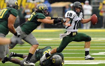 EUGENE, OR - SEPTEMBER 18: Quarterback Connor Kavanaugh #10 of the Portland State sacked by linebacker Casey Matthews #55 of the Oregon Ducks in the second quarter of the game at Autzen Stadium on September 18, 2010 in Eugene, Oregon.  (Photo by Steve Dyk