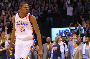 OKLAHOMA CITY, OK - APRIL 27: Kevin Durant #35 of the Oklahoma City Thunder looks to the bench after hitting a key three-point shot against the Denver Nuggets in Game Five of the Western Conference Quarterfinals in the 2011 NBA Playoffs on April 27, 2011