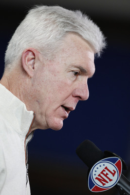 INDIANAPOLIS, IN - FEBRUARY 25: Green Bay Packers general manager Ted Thompson answers questions during a media session at the 2011 NFL Scouting Combine at Lucas Oil Stadium on February 25, 2011 in Indianapolis, Indiana. (Photo by Joe Robbins/Getty Images