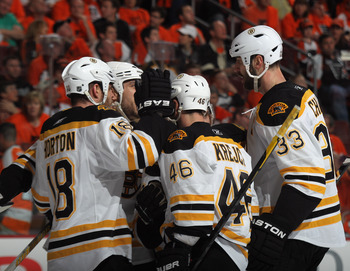 The Bruins jumped in front of the Flyers winning Game One, 7-3.
