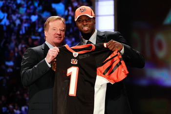 NEW YORK, NY - APRIL 28:  NFL Commissioner ROger Goodell poses for a photo with A.J. Green, #4 overall pick by the Cincinnati Bengals, as Green holds up a jersey during the 2011 NFL Draft at Radio City Music Hall on April 28, 2011 in New York City.  (Phot