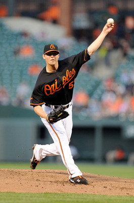 BALTIMORE, MD - APRIL 20:  Zach Britton #53 of the Baltimore Orioles pitches against the Minnesota Twins at Oriole Park at Camden Yards on April 20, 2011 in Baltimore, Maryland.  (Photo by Greg Fiume/Getty Images)