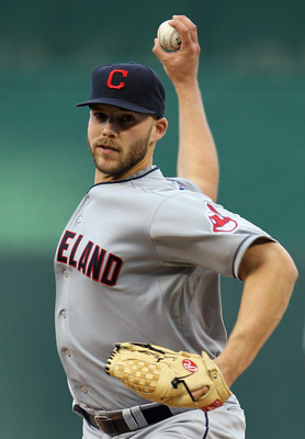 KANSAS CITY, MO - APRIL 20:  Starting pitcher Justin Masterson #63 of the Cleveland Indians warms-up just prior to the start of the game against the Kansas City Royals on April 20, 2011 at Kauffman Stadium in Kansas City, Missouri.  (Photo by Jamie Squire