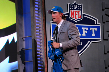 NEW YORK, NY - APRIL 28:  Blaine Gabbert walks on stage after he was picked #11 overall pick by the Jacksonville Jaguars during the 2011 NFL Draft at Radio City Music Hall on April 28, 2011 in New York City.  (Photo by Chris Trotman/Getty Images)