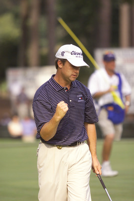 19 Aug 2001:  David Toms reacts to holing out during the final round of the PGA Championship at the Atlanta Athletic Club in Duluth, Georgia. DIGITAL IMAGE. Mandatory Credit: Craig Jones/ALLSPORT