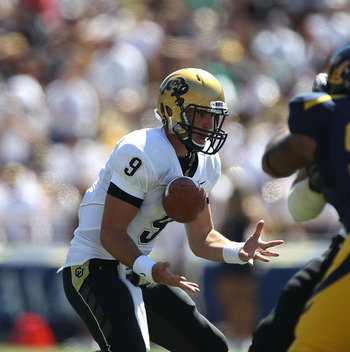 BERKELEY, CA - SEPTEMBER 11:  Jimmy Smith #3 of the Colorado Buffaloes bobbles the ball against the California Golden Bears at California Memorial Stadium on September 11, 2010 in Berkeley, California.  (Photo by Jed Jacobsohn/Getty Images)