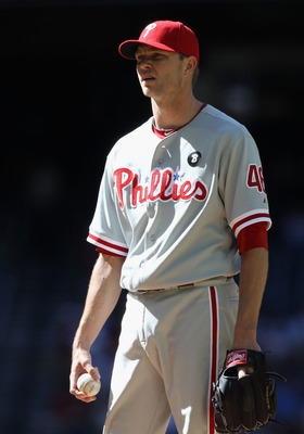 PHOENIX, AZ - APRIL 27:  Relief pitcher Ryan Madson #46 of the Philadelphia Phillies pitches against the Arizona Diamondbacks during the Major League Baseball game at Chase Field on April 27, 2011 in Phoenix, Arizona. The Phillies defeated the Diamondback