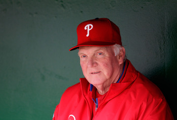 WASHINGTON, DC - APRIL 13:  Manager Charlie Manuel #41 of the Philadelphia Phillies talks with the media in the dugout before the start of their game against the Washington Nationals at Nationals Park on April 13, 2011 in Washington, DC.  (Photo by Rob Ca