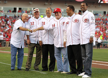 CINCINNATI - SEPTEMBER 11: (L-R) Tommy Helms, Tom Browning, Cesar Geronimo, Pete Rose, Tony Perez and Eric Davis take in the ceremony celebrating the 25th anniversary of Rose breaking the career hit record of 4,192 on September 11, 2010 at Great American