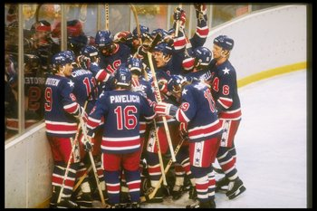 LAKE PLACID - FEBRUARY 24: The United States hockey team gather to celebrate their victory over Finland in the gold medal game on February 24, 1980 of the 1980 Winter Olympics in Lake Placid, New York. (Photo by Steve Powell/Getty Images)