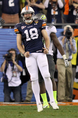 GLENDALE, AZ - JANUARY 10:  Kicker Wes Byrum #18 of the Auburn Tigers reacts after he kicks a 19-yard game-winning field goal to defeat the Oregon Ducks 22-19 in the Tostitos BCS National Championship Game at University of Phoenix Stadium on January 10, 2