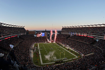 FOXBORO, MA - JANUARY 16:  The New England Patriots take the field before playing against the New York Jets to start their 2011 AFC divisional playoff game at Gillette Stadium on January 16, 2011 in Foxboro, Massachusetts.  (Photo by Michael Heiman/Getty