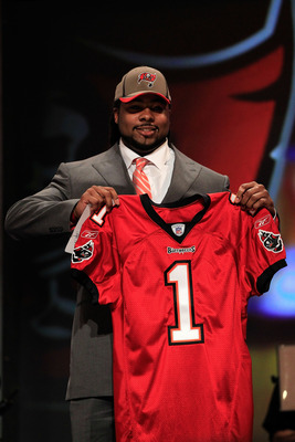 NEW YORK, NY - APRIL 28:  Adrian Clayborn, #20 overall pick by the Tampa Bay Buccaneers, holds up a jersey on  stage during the 2011 NFL Draft at Radio City Music Hall on April 28, 2011 in New York City.  (Photo by Chris Trotman/Getty Images)