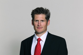 FLOWERY BRANCH, GA - CIRCA 2010: In this handout image provided by the NFL,  Thomas Dimitroff of the Atlanta Falcons NFL of Saturday, May 8, 2010 headshot circa 2010 at the Falcons Football Facility in Flowery Branch, Georgia.  (Photo by NFL via Getty Ima