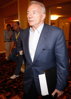 NEW ORLEANS, LA - MARCH 21: Dallas Cowboys owner Jerry Jones leaves NFL Annual Meetings at the Roosevelt Hotel on March 21, 2011 in New Orleans, Louisiana. Despite a NFL owners imposed lockout in effect since March 12 the league is conducting it's annual