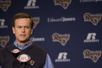 ST. LOUIS, MO. - JANUARY 19: St. Louis Rams' general manager Billy Devaney introduces newly appointed head coach Steve Spagnuolo during a press conference on January 19, 2009 at the Russell Training Center in St. Louis, Missouri.  (Photo by Dilip Vishwana