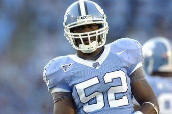 CHAPEL HILL, NC - OCTOBER 13: Quan Sturdivant #52 of the North Carolina Tar Heels looks on during the game against the South Carolina Gamecocks at Kenan Stadium October 13, 2007 in Chapel Hill, North Carolina. South Carolina won 21-15. (Photo by Grant Hal