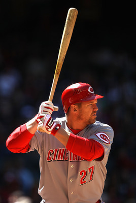 PHOENIX, AZ - APRIL 10:  Scott Rolen #27 of the Cincinnati Reds bats against the Arizona Diamondbacks during the Major League Baseball game at Chase Field on April 10, 2011 in Phoenix, Arizona.  (Photo by Christian Petersen/Getty Images)