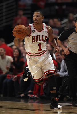 CHICAGO, IL - APRIL 26: Derrick Rose #1 of the Chicago Bulls moves up the court against the Indiana Pacers in Game Five of the Eastern Conference Quarterfinals in the 2011 NBA Playoffs at the United Center on April 26, 2011 in Chicago, Illinois. The Bulls