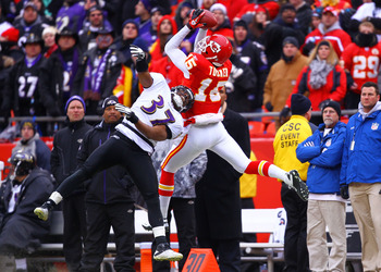 KANSAS CITY, MO - JANUARY 09:  Wide receiver Verran Tucker #15 of the Kansas City Chiefs makes a catch against the Baltimore Ravens during their 2011 AFC wild card playoff game at Arrowhead Stadium on January 9, 2011 in Kansas City, Missouri.  (Photo by D