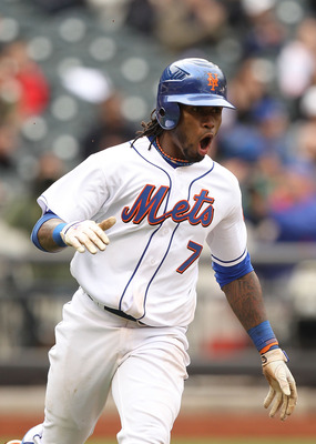 NEW YORK, NY - APRIL 10:  Jose Reyes #7 of the New York Mets reacts after hitting a single in the tenth inning against the Washington Nationals during their game on April 10, 2011 at Citi Field in the Flushing neighborhood of the Queens borough of New Yor