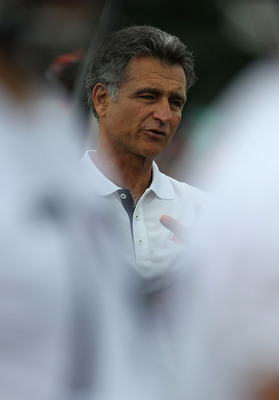 BOURBONNAIS, IL - JULY 30: General manager Jerry Angelo of the Chicago Bears watches a summer training camp practice at Olivet Nazarene University on July 30, 2010 in Bourbonnais, Illinois. (Photo by Jonathan Daniel/Getty Images)