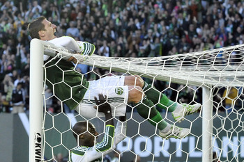 Portland Timber Kenny Cooper celebrates his goal in the biggest win in the history of this young franchise