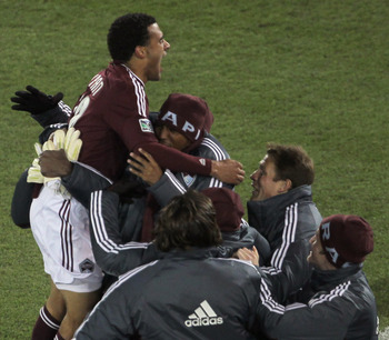 Andre Akpan celebrates his first MLS goal