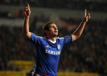 BLACKPOOL, ENGLAND - MARCH 07:  Frank Lampard of Chelsea celebrates scoring his team's second goal during the Barclays Premier League match between Blackpool and Chelsea at Bloomfield Road on March 7, 2011 in Blackpool, England.  (Photo by Alex Livesey/Ge