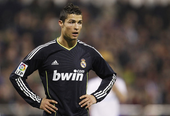 ZARAGOZA, SPAIN - DECEMBER 12: Cristiano Ronaldo of Real Madrid looks on during the La Liga match between Real Zaragoza and Real Madrid at La Romareda stadium on December 12, 2010 in Zaragoza, Spain. (Photo by Angel Martinez/Getty Images)