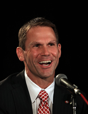 SAN FRANCISCO, CA - JANUARY 07:  General manager Trent Baalke speaks at a press conference where Jim Harbaugh was introduced as the new San Francisco 49ers head coach at the Palace Hotel on January 7, 2011 in San Francisco, California.  (Photo by Ezra Sha