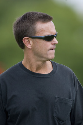 ST. LOUIS - JULY 31:  General manager Billy Devaney of the St. Louis Rams looks on during training camp at the Russell Athletic Training Facility on July 31, 2009 in St. Louis, Missouri.  (Photo by Dilip Vishwanat/Getty Images)