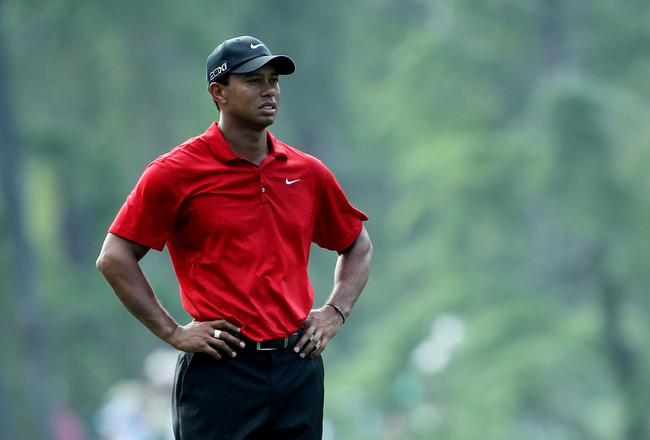 AUGUSTA, GA - APRIL 10:  Tiger Woods looks on during the final round of the 2011 Masters Tournament at Augusta National Golf Club on April 10, 2011 in Augusta, Georgia.  (Photo by Jamie Squire/Getty Images)