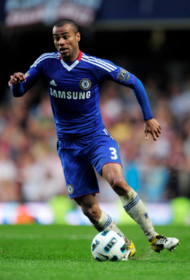 LONDON, ENGLAND - APRIL 23:  Ashley Cole of Chelsea runs with the ball during the Barclays Premier League match between Chelsea and West Ham United at Stamford Bridge on April 23, 2011 in London, England.  (Photo by Jamie McDonald/Getty Images)