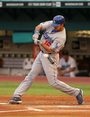 MIAMI GARDENS, FL - APRIL 25:  Andre Ethier #16 of the Los Angeles Dodgers his a single during a game against the Florida Marlins at Sun Life Stadium on April 25, 2011 in Miami Gardens, Florida.  (Photo by Mike Ehrmann/Getty Images)